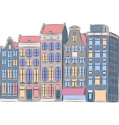 Amsterdam Multi-colored houses vector