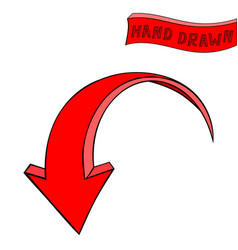 Arrow red down sign hand drawn sketch vector