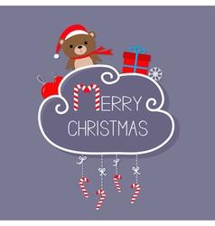 Babear in santa hat giftbox snowflake ball vector