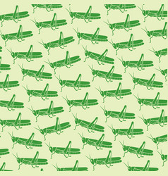 Background pattern with green grasshopper vector