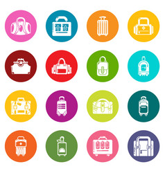 bag baggage suitcase icons set colorful circles vector image