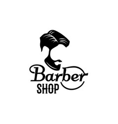 barbershop beard mustache head icon vector image