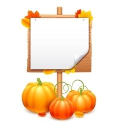 Bunch of Pumpkins and Signboard vector image vector image