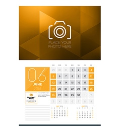 Calendar for 2016 year june design clean template vector
