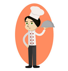 Cartoon chef carrying dinner plate with perfect vector