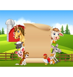 Cartoon farm animals with blank sign vector