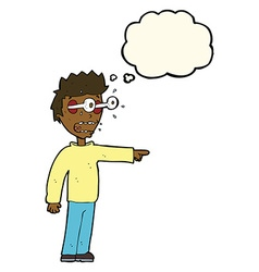 Cartoon man with popping out eyes with thought vector
