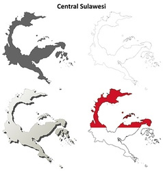 Central Sulawesi blank outline map set vector