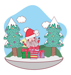 christmas santa claus with gift in snowscape vector image