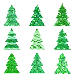 Collection of original green spruces vector image