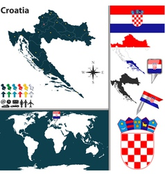 Croatia map world vector