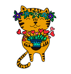 cute ginger cat with a wreath of flowers on his vector image vector image