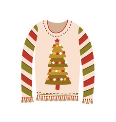 cute sweater with christmas tree and fringe vector image
