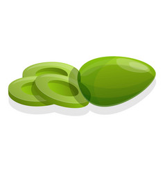 cutted green olive icon cartoon style vector image