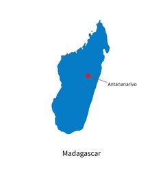Detailed map of Madagascar and capital city vector