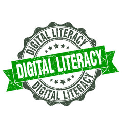 Digital literacy stamp sign seal vector
