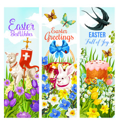 Easter holiday greeting banner with egg and rabbit vector