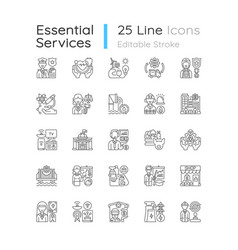 Essential services linear icons set vector
