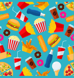 fast food snacks and drinks seamless background vector image vector image