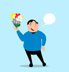 fat man holds bouquet in his hand vector image