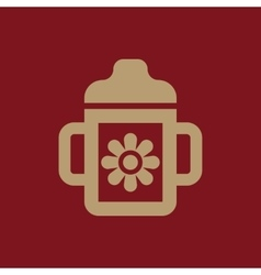 Feeding cup icon design Baby bottle Feeding cup vector