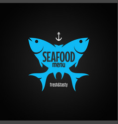 fish logo seafood menu on black background vector image