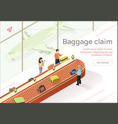 Flat baggage claim collect luggage vector