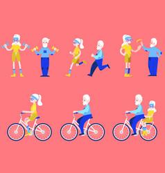 flat elderly man woman doing sport set vector image