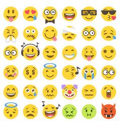 flat emoticons set 2 vector image
