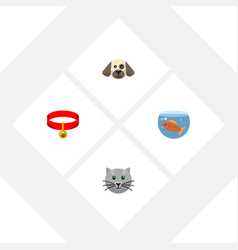 Flat icon pets set of kitty puppy fishbowl and vector