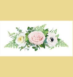Floral bouquet rose anemone flowers vector