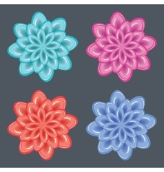 Flower icon set Dahlia aster daisy chamomile vector
