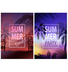Flyer template with tropical background vector