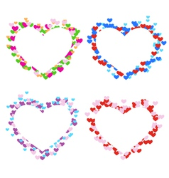 Four multicolored frames with hearts isolated on vector image