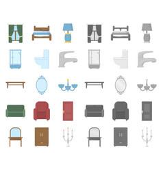 Furniture and interior cartoonmono icons in set vector