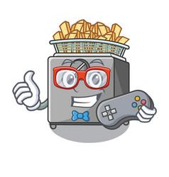 Gamer cooking french fries in deep fryer cartoon vector