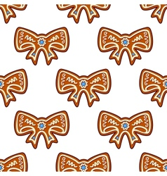Gingerbread bows seamless background vector