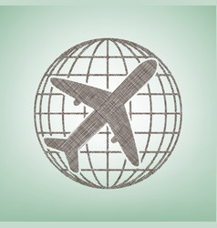 globe and plane travel sign brown flax vector image