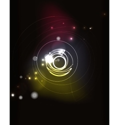 Glowing circle in dark space vector image
