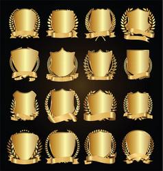Golden shields laurel wreath with ribbon vector