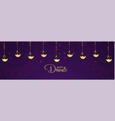 Happy diwali golden diya and purple background vector