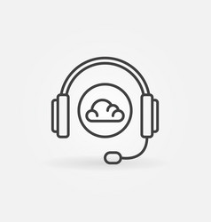 headphones and cloud thin line concept icon vector image