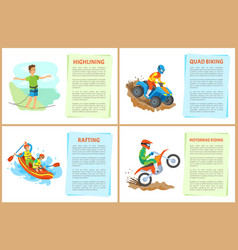 highlining and quad biking hobposter with text vector image