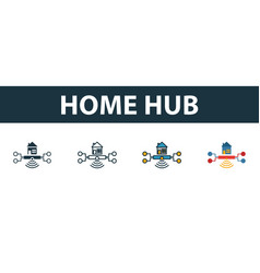 home hub icon set four simple symbols in diferent vector image