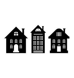 houses monochrome silhouette multi storey building vector image