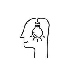 human head with thin line light bulb vector image