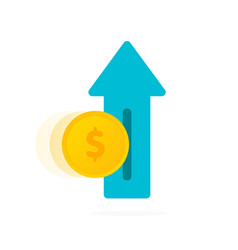income growth - growing arrow with coins isolated vector image