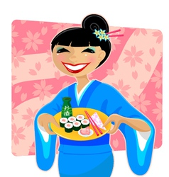 Japanese meal vector