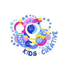 kids creative logo design template labels and vector image