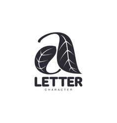 Letter A logo template formed by two leaves vector image